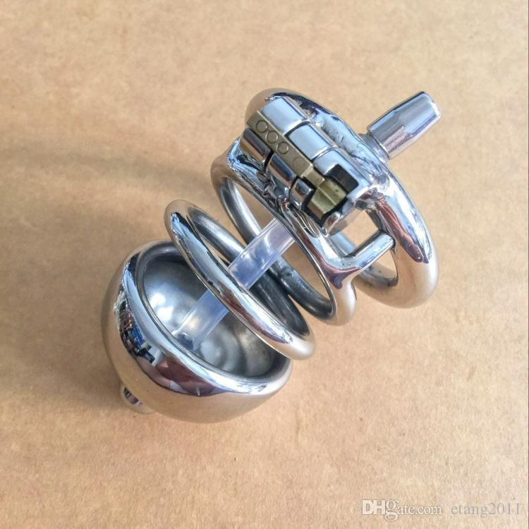 New Style Double Ring Chastity Device Silicone Tube with Barbed Anti-Shedding Ring Cock Cage Male Urethral Sounding BDSM Craft Sex Penis