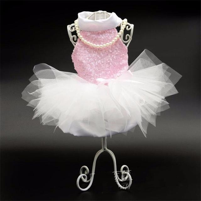 Pet Dog Wedding Dress With Sequin Pet Skirt Mini Pink Lace Tutu Skirt Dogs Princess Dresses Wedding Dresses