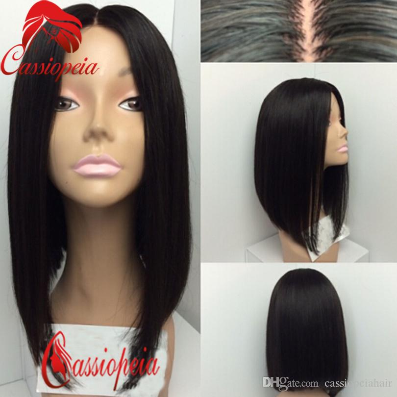 Short Bob Cut Wigs Human Hair Glueless Middle Part Long Bob Full Lace Wigs  Brazilian Human Hair Lace Front Bob Wigs Wholesale Remy Virgin Hair Human