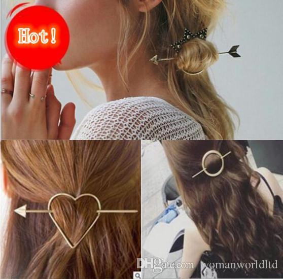 빈티지 골드 컬러 메탈 트라이앵글 헤어핀 소녀 헤어핀 여성 패션 헤어핀 간단한 헤어 액세서리 디스크 머리 무료 배송