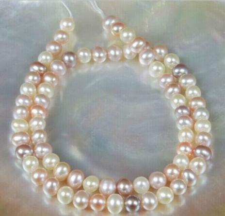 Elegante collana multicolor in oro rosa 9-10mm con perle bianche e viola multicolor, chiusura in oro 14 k