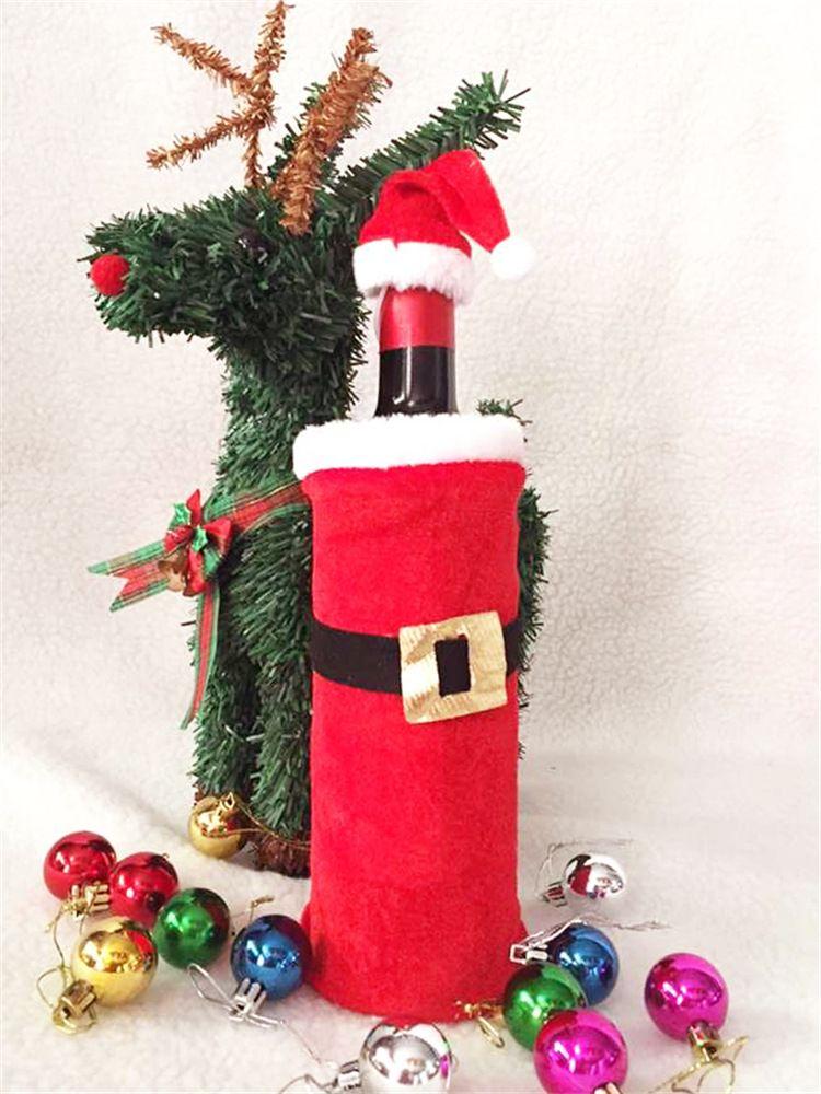 Pleuche Noël Bouteille De Vin Rouge Décoré Sac De Vin De Noël Avec Chapeau De Noël Commodity Bouteille De Noël Ensembles ELCD008