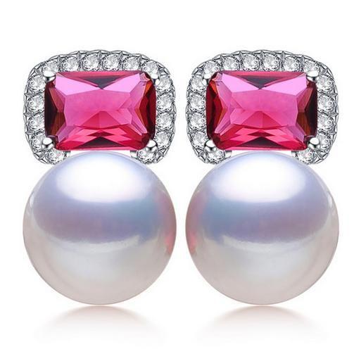 Großhandel 9-10mm natürliche oblate Rubin Stil weiße Perle Ohrringe 925 Silber Zubehör