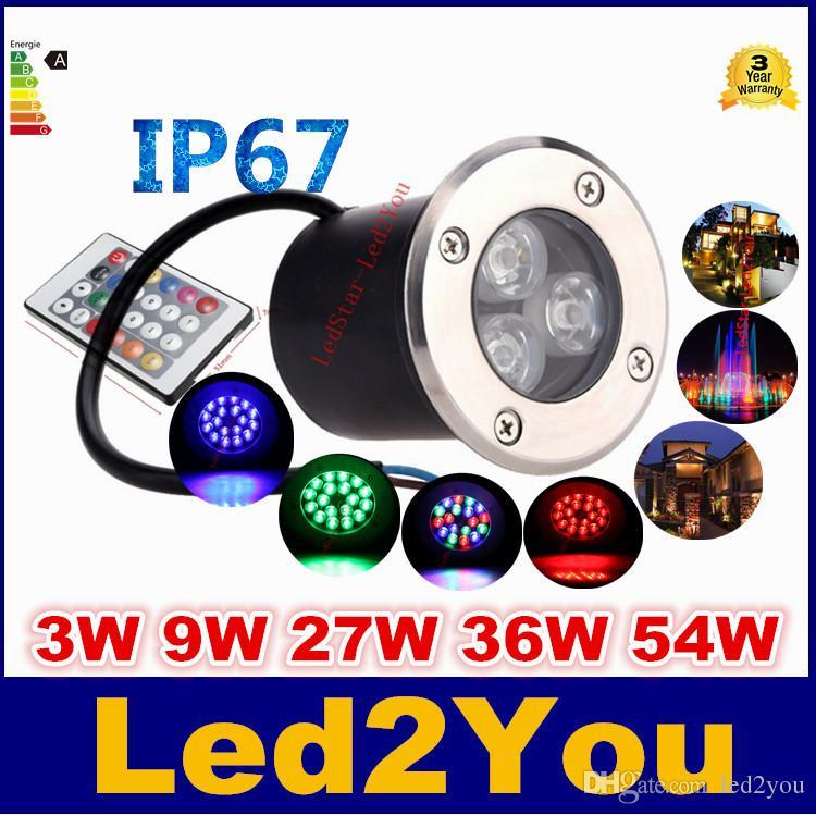 12V 9W أدى RGB تحت الأرض الخفيفة الطابق مصباح في الهواء الطلق IP67 دفن أضواء الطابق راحة دافئ / بارد أبيض أحمر أزرق أخضر