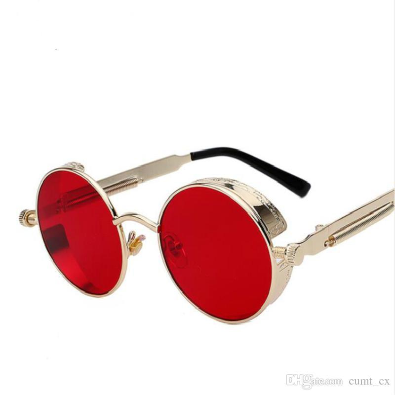 Moda gafas de sol de metal redondo Steampunk Hombres Mujeres gafas de moda Diseñador de la marca Retro Vintage gafas de sol UV400 Unisex