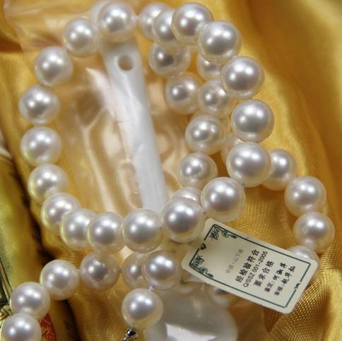 Klassische 9-10 MM Südsee natürliche weiße Perlenkette 18 Zoll S925 Silber