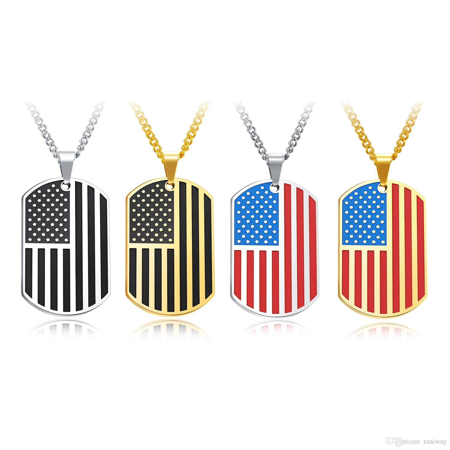 Classical Mens Stainless Steel American Flag USA Army Dog Tag Pendant Necklace with 24 Inch Chain Fashion Jewelry