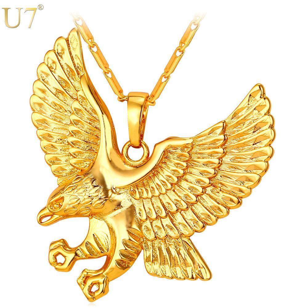جديد الذهب النسر قلادة الرجال المجوهرات العصرية البلاتين / 18 كيلو الذهب مطلي الحيوان هوك الجناح سحر قلادة قلادة بالجملة P820