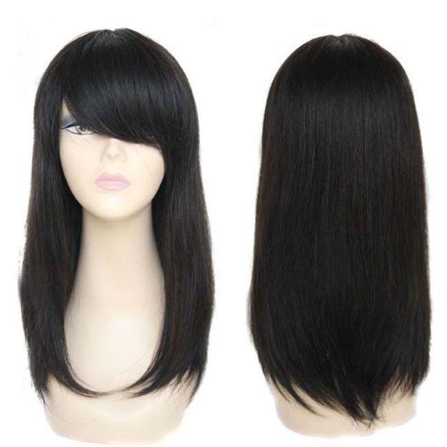 100% Brand New High Quality Fashion Picture full lace wigs>>Real Hair! Silky Brazilian Style Medium Straight Hair Natural Black Wig