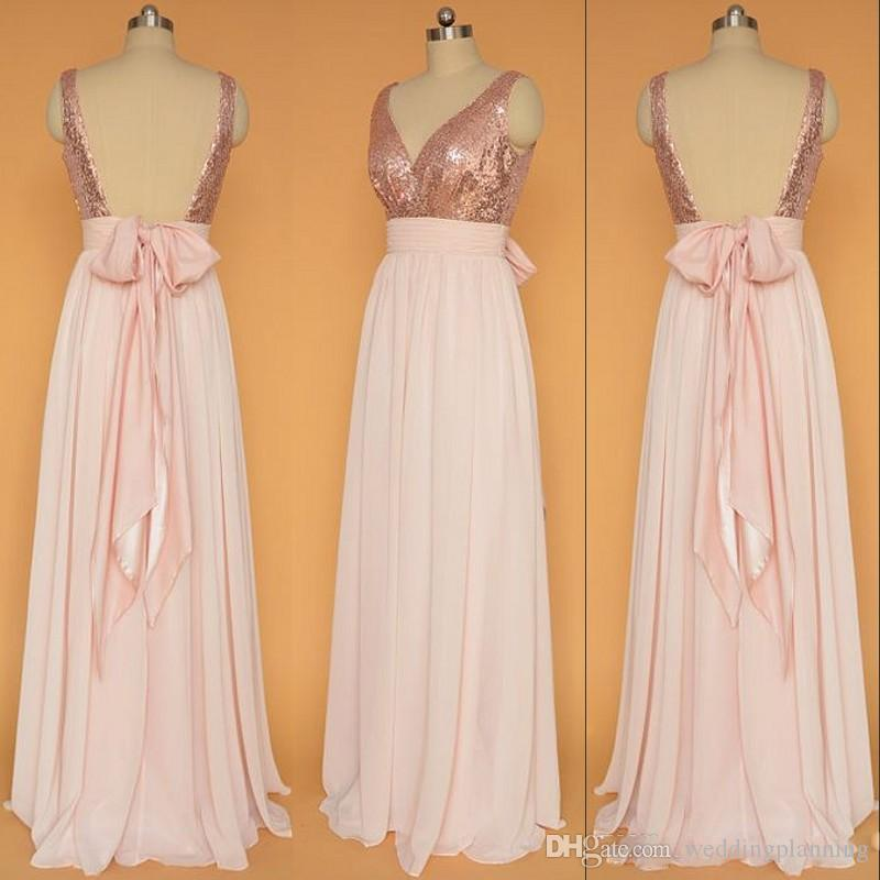 Real Image Evening Dresses Cheap With Sequins Plunging Pleats&Ruffle Bow Sash Chiffon Floor Length Cheap Sexy Evening Gown Custom Made