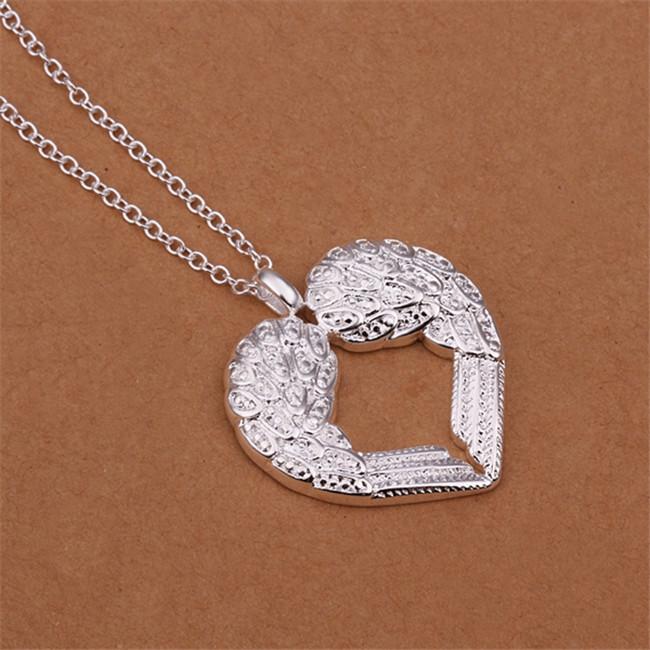 Cadeau de Noël Angel Heart ailes Collier plaqué collier en argent sterling STSN357, tout nouveau mode 925 collier en argent usine de vente directe