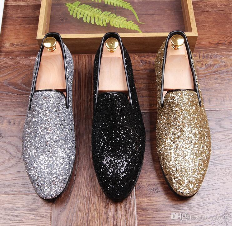 New Luxury Men Casual Shoes Gold