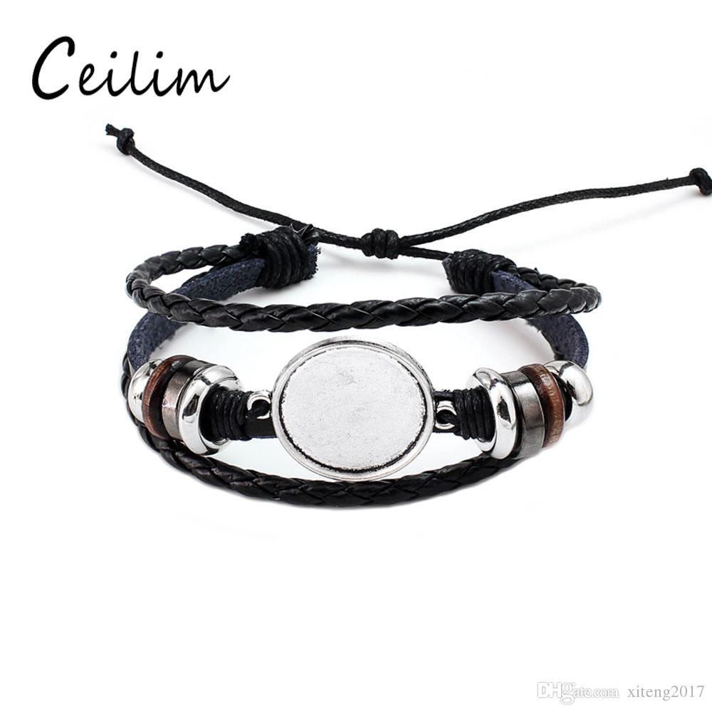 2019 Fashion Jewelry Diy Multi Layer Leather Bracelet Bangle Blank Base Fit 20mm Round Photo Glass Cabochon Setting Bezel Tray Jewelry Making From