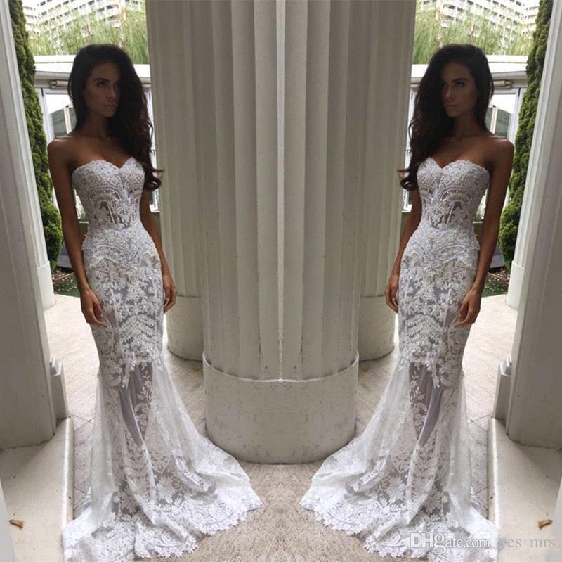 2017 Nova Sexy Barato Sereia Vestidos De Casamento Querida Lace Branco Apliques Frisada SweepTrain Sheer Ilusão Plus Size Formais Vestidos De Noiva