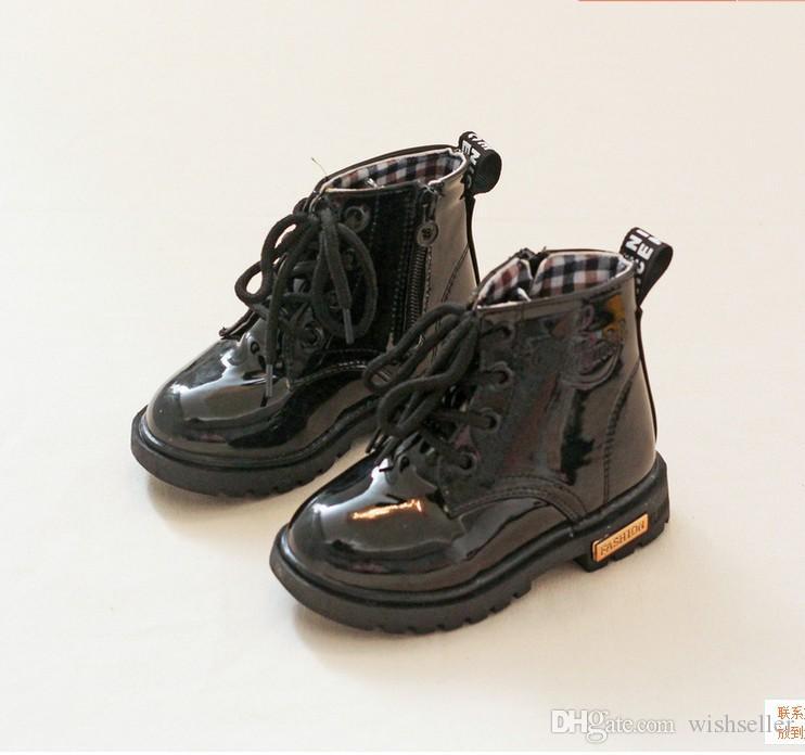 Neue Herbst und Winter Kinder Lackleder Martin Stiefel Reißverschluss Kleinkind Schuhe 21-36 Größe für Baby Kinder