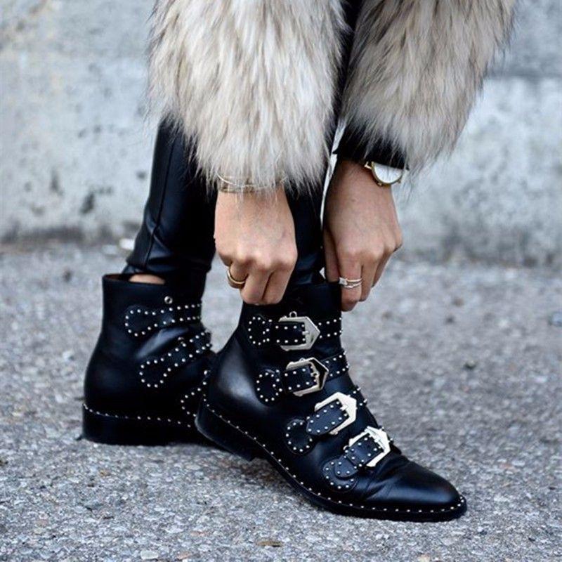 2018 Noir Vin Rouge Mode Femmes En Cuir Tactique Cheville Bottes Femme Ouest Vintage Rivets Cloutés Moto Punk Chaussures Femme Martin Chaussure
