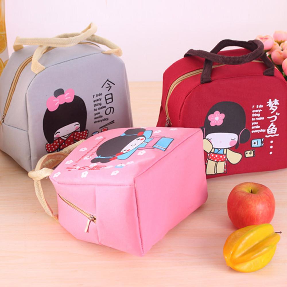 New Japanese Girl Lunch Boxes Grand Portable Isolation Boîte Imperméable Épaississement Mignon De Bande Dessinée Feuille D'isolation Sacs