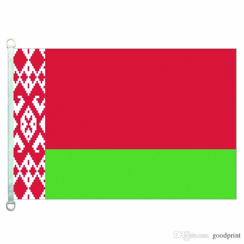Drapeau de la Biélorussie Bannière 3X5FT-90x150cm 100% polyester, drapeau extérieur en tissu tricoté en chaîne 110 g / m²