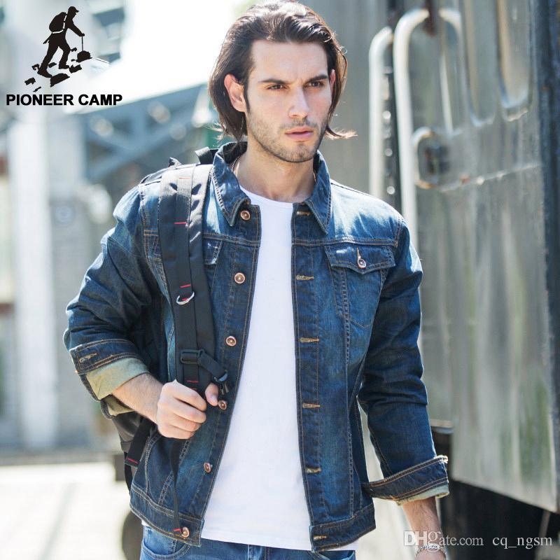 Pioneer Camp mens denim jacket brand 100% cotton casual mens jean ...