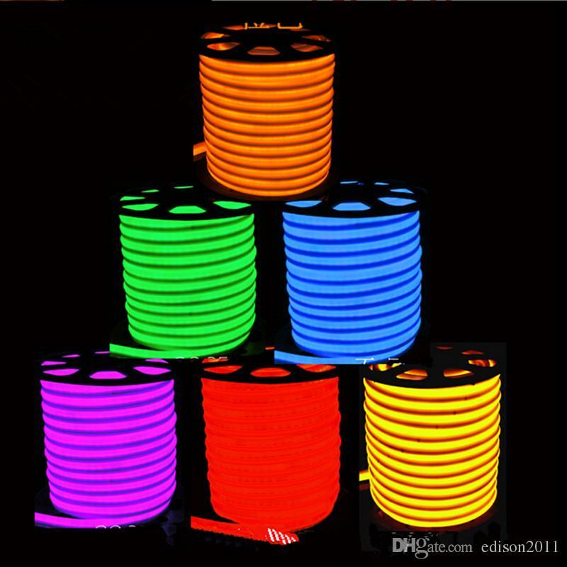 Edison2011 LED 네온 코드 빛 빨강 LED 연약한 네온 등 지구 80leds / M LED 네온 밧줄 빛 220V 옥외 방수