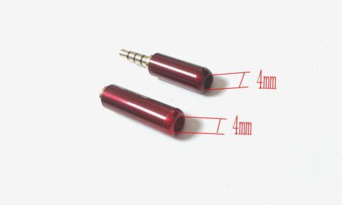 10Pair الأحمر 3.5mm 4 القطب صوت ستيريو (ذكر التوصيل + أنثى المقبس) موصل لحام