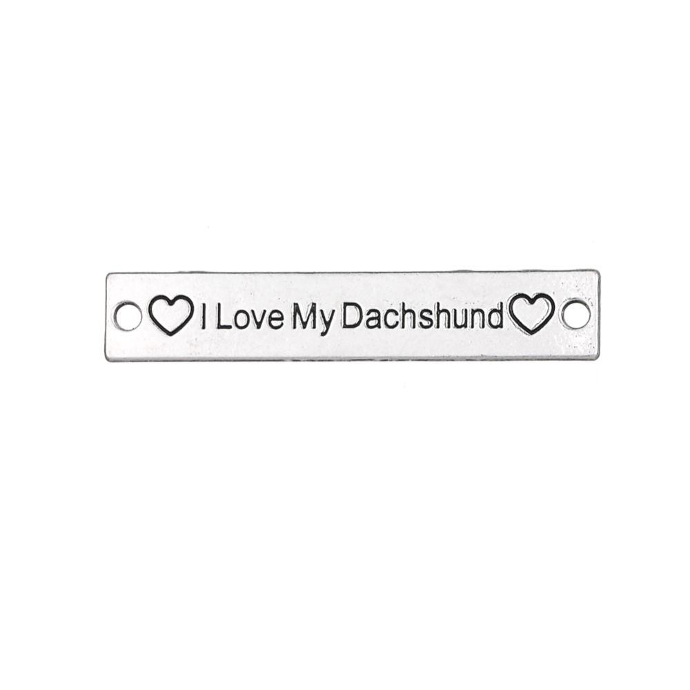 الفضة التبتية أنا أحب بلدي الألماني كلمة القلب محفورة مستطيل سحر diy الكلب سوار موصل سحر لصنع المجوهرات