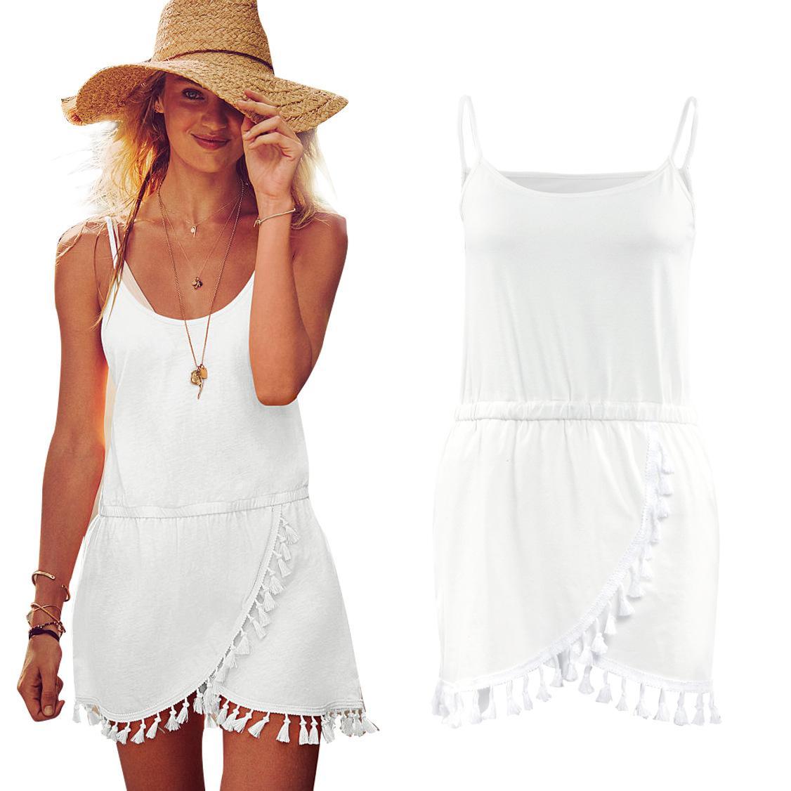 2016 새 여름 캐미솔 치마 Tassels 불규칙한 맥시 드레스 긴 소매 의류 숙녀 염가 작업 데님 여성 여성 Bodycon Dresses