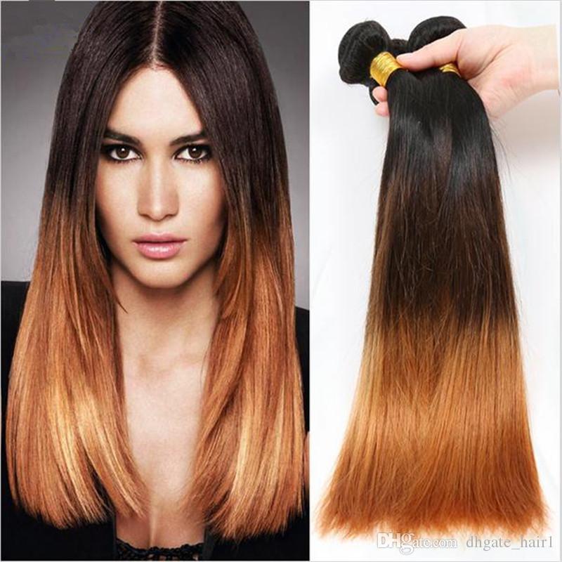 Vierge Brésilienne # 1B 4 30 Ombre de Cheveux Humains Tisse Droite Brésilienne 3Bundles Foncé Roots Trois Tons Ombre Extensions de Cheveux
