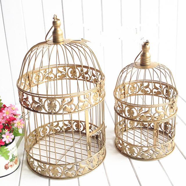 Decoración de la boda de la jaula de aves de hierro de canela de moda de oro de la vendimia europea accesorios de la boda decoración