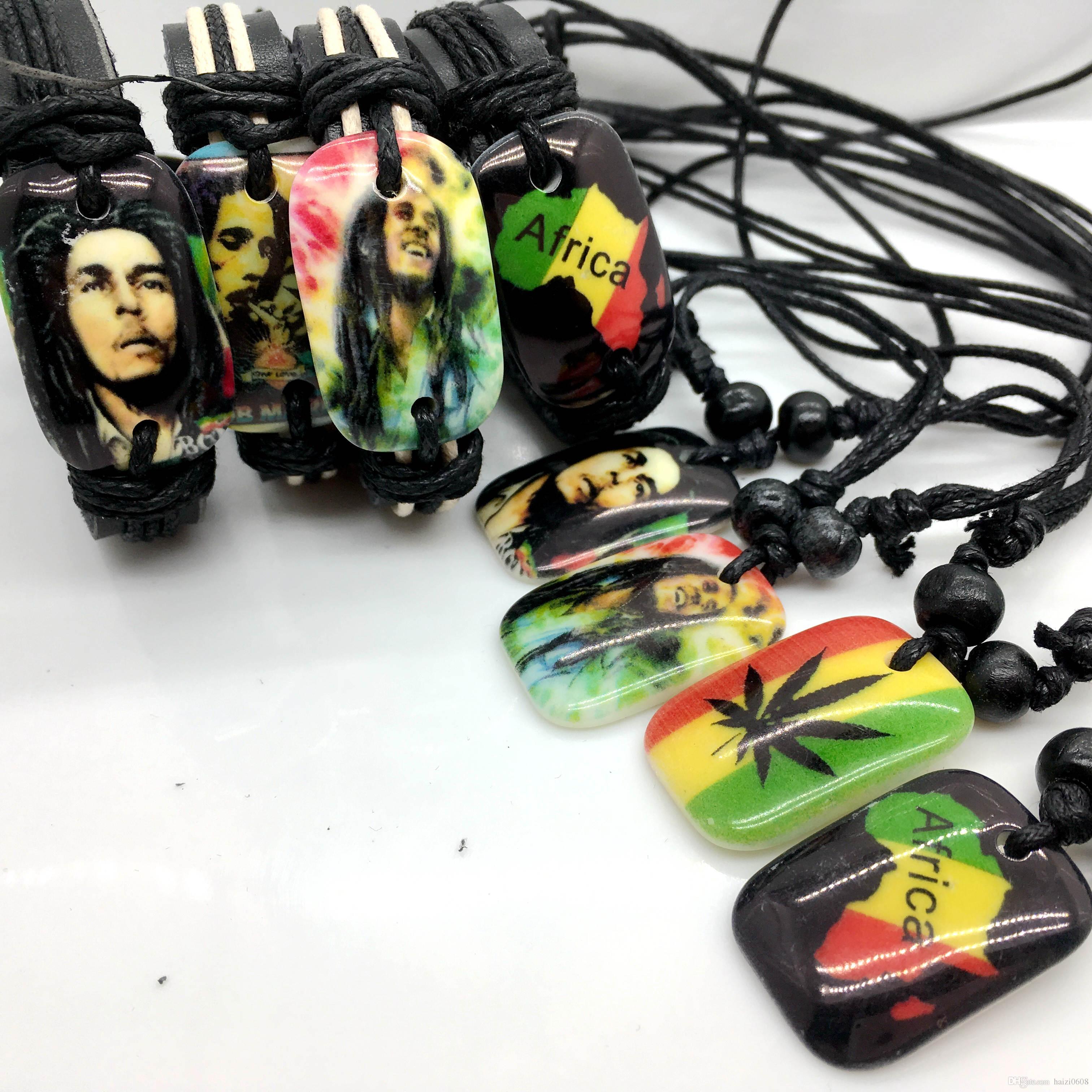 Band New 24pcs Mens Womens in pelle Bob Marley Bracciale e collana 8 stili misti gioielli braccialetto di fascino Collana ciondolo regalo