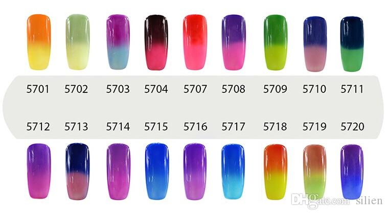 Elite99 Cambio de temperatura de 7 ml Camaleón Cambio de color Empapa del gel de uñas UV Gel polaco UV Elige 8 de 54 colores