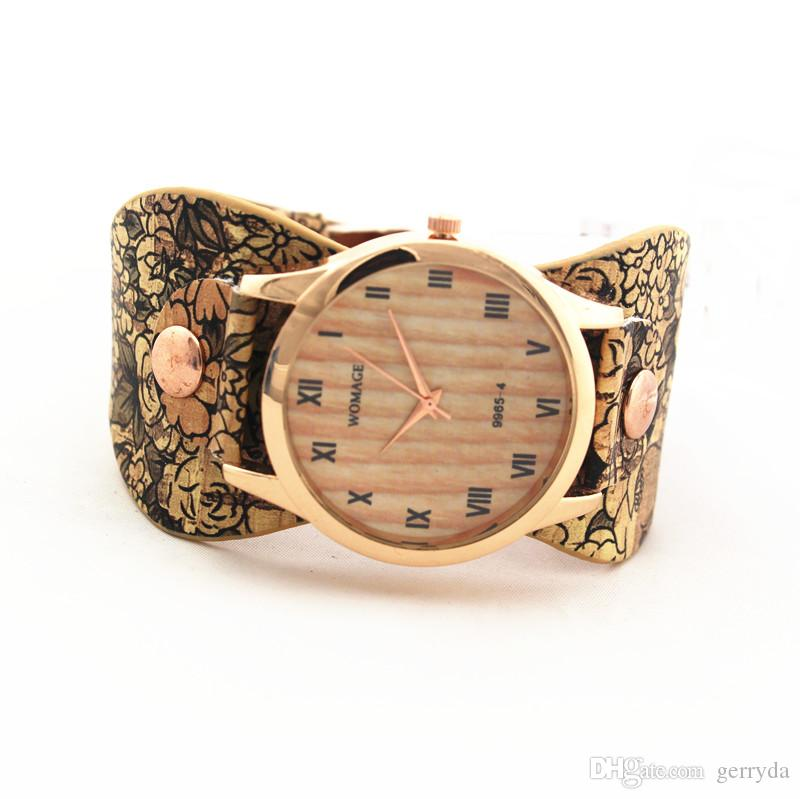 Free shipping!one patch style PU leather band,gold plate round case,wooden imprint dial,Womage fashion woman lady quartz leather watches