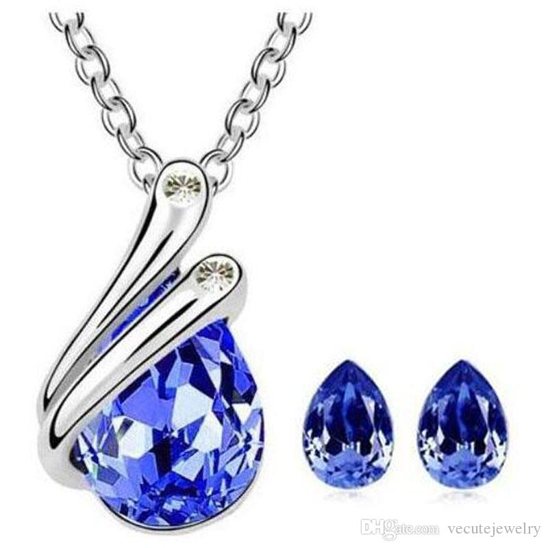 Fashion 18K White Gold Plated Water Drop Crystal Necklace Earrings Jewelry Sets for Women Made With Swarovski Elements Wedding Jewelry Set