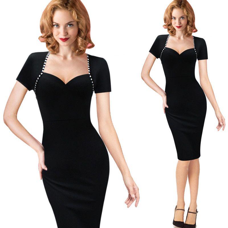 Женская мода черный с коротким рукавом квадратный воротник тонкий платье для женщин плюс размер Сексуальная партия Midi Bodycon карандаш платья S-4XL