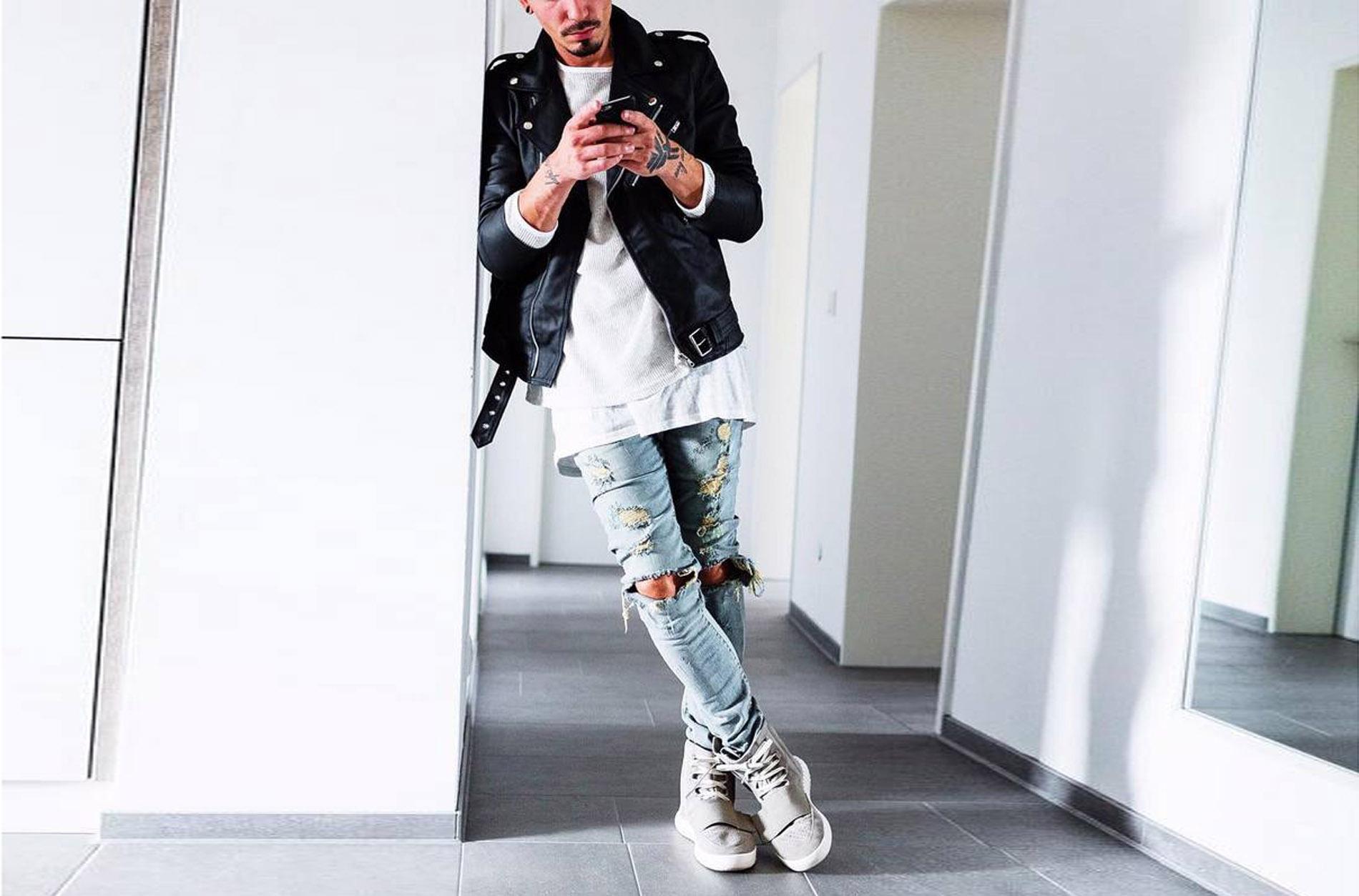 2018c prezzo più basso trasporto libero All'ingrosso-Mens Strappato Skinny Straight Slim Elastico Denim Fit Biker Jeans Pantaloni Pantaloni lunghi Jeans uomo