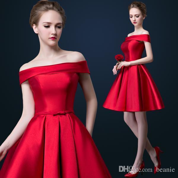 Compre Vestidos De Noche Cortos Rojos Elegantes De Los Vestidos Elásticos Del Baile De Fin De Curso Del Satén Del Hombro El Nuevo Vestido De Partido