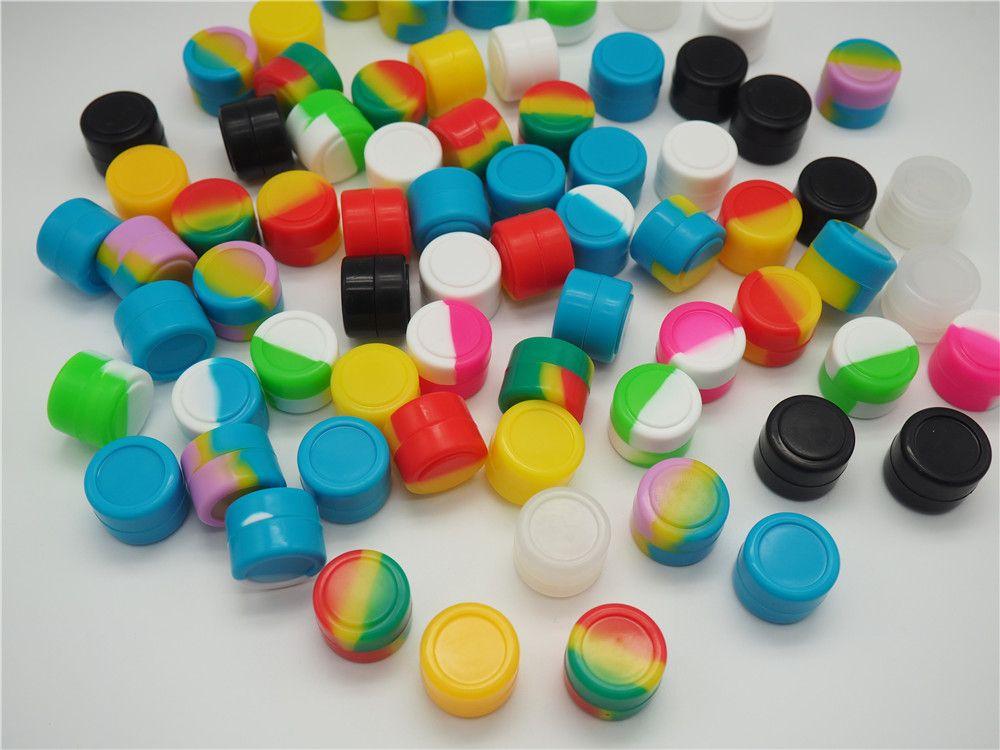 Recipientes de cera antiaderentes de venda quente 2ml recipiente de silicone de silicone alimentar jarras de ferramentas de armazenamento de ferramentas de armazenamento de ferramentas para vaporizador Vape FDA aprovado