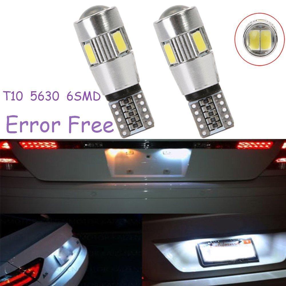 white T10 6SMD 5630 194 501 W5W White Car LED Light Bulb Canbus ERROR Free Lamps