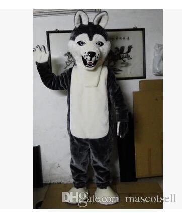 Fancy Grey Dog Husky Hund mit dem Auftritt von Wolf Maskottchen Kostüm Mascotte Adult Cartoon Charakter Party Kostenloser Versand
