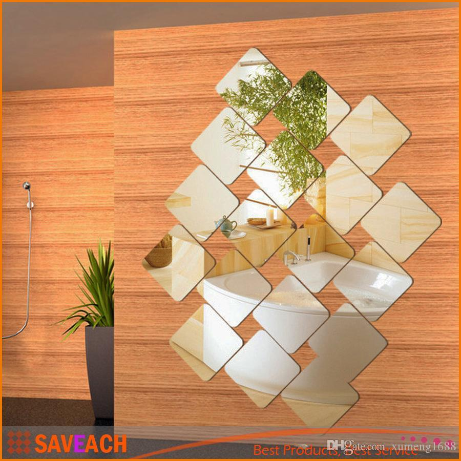 20cm Square Roof Ceiling Mirror Crystal Wall Sticker DIY Acrylic 3D Home Decal Living Room adesivo de parede