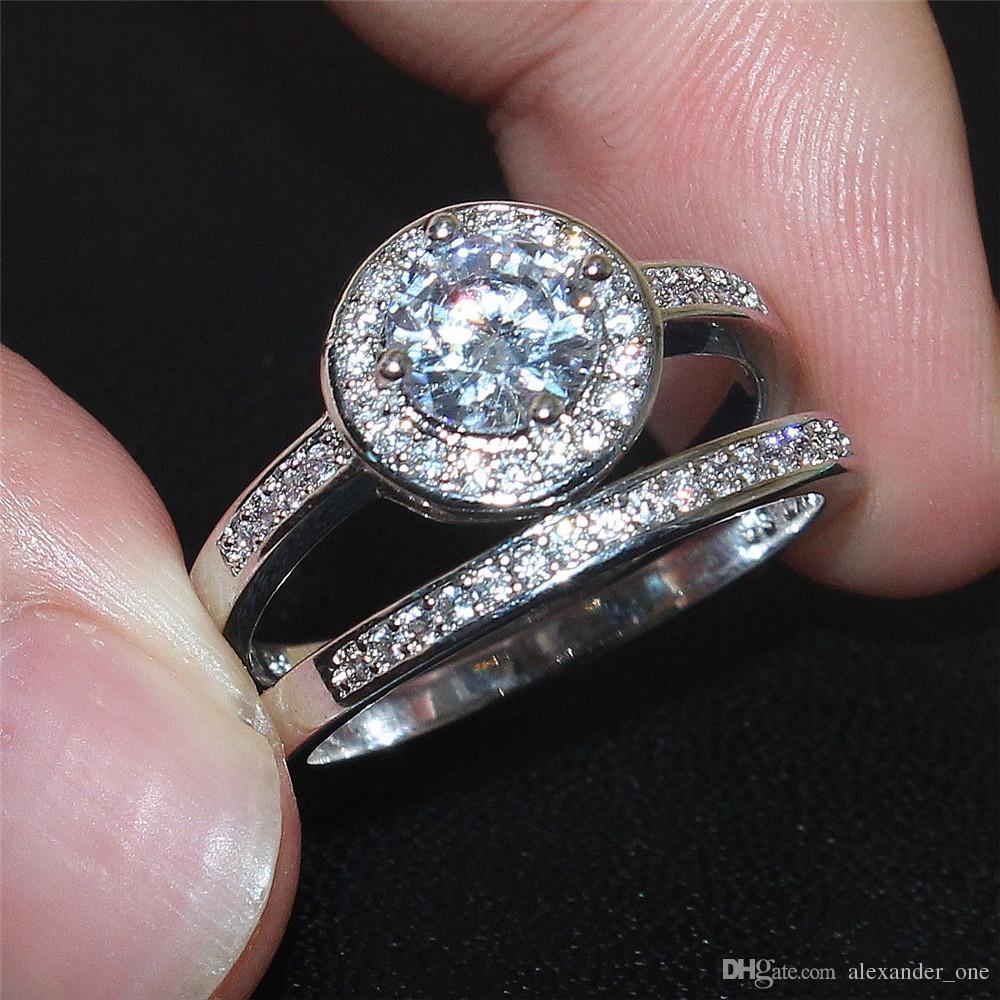 Bohème 10KT or blanc rempli de diamants ronds sertis de diamants ronds sertis pour la mariée