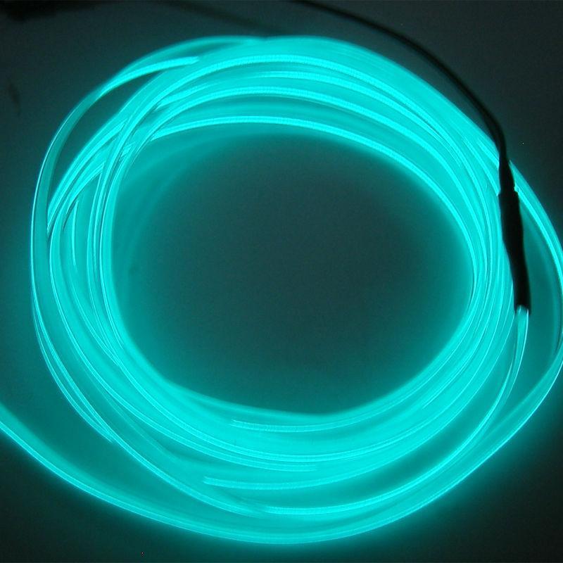 2M RED EL-Wire 12V Car Interior Decor Fluorescent Neon Strip Cold ...