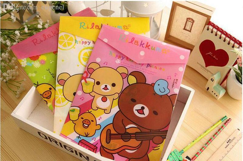 Wholesale-2PCS kawaii اليابانية rilakkuma الدب سلسلة a4 وثيقة حقيبة ملف a4 الايداع الايداع للمدرسة مكتب
