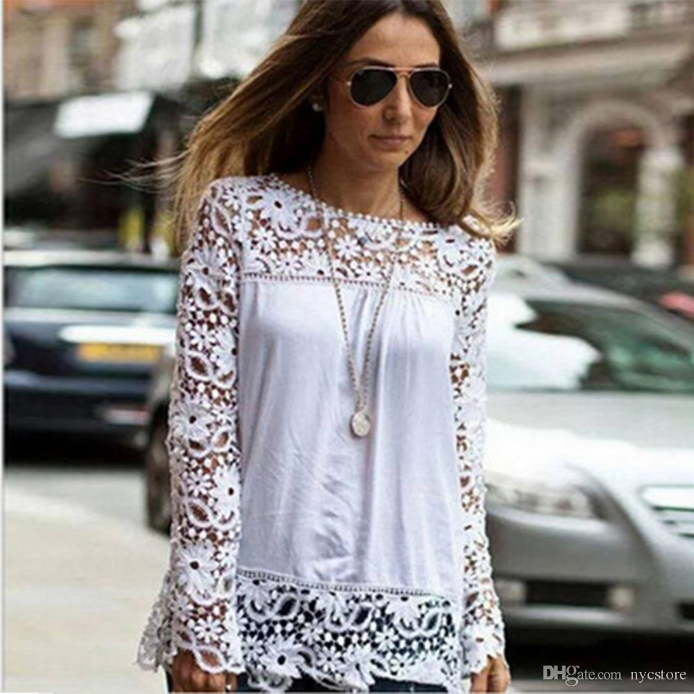 Ladies Floral Full Sleeve Chiffon Blouse Lace Top Shirt Blouse Women Clothing Plus size S-5XL
