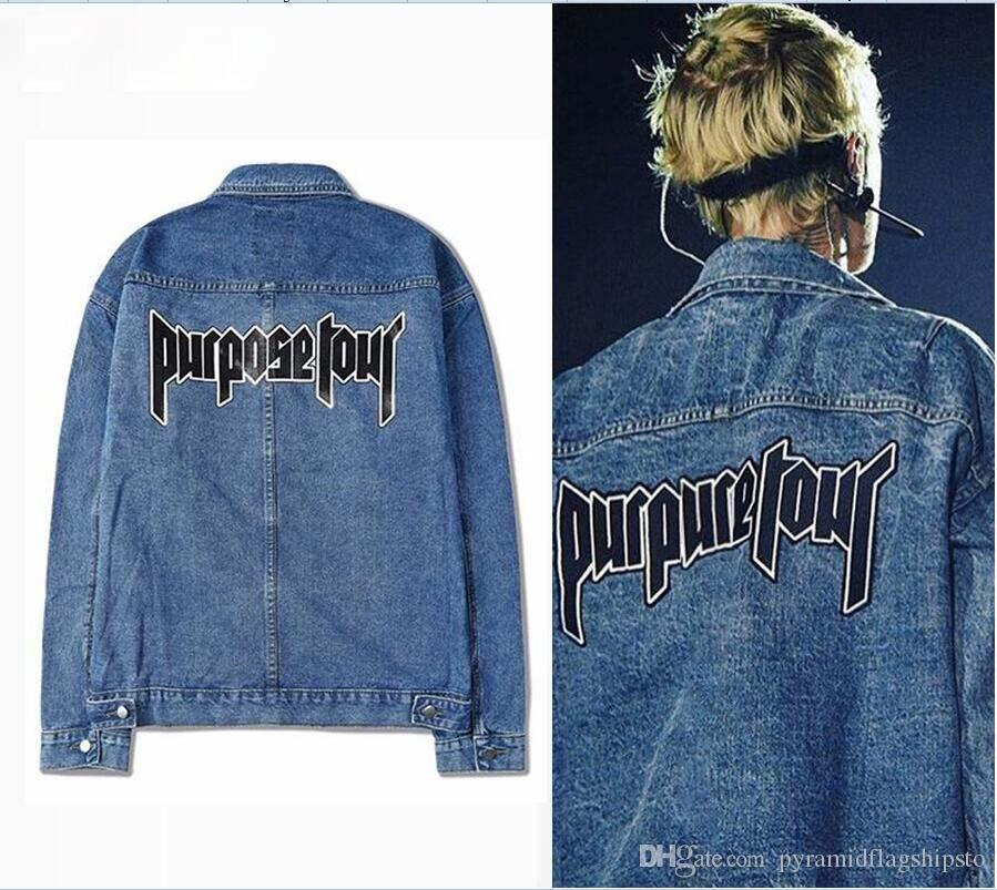 Wholesale Purpose Tour Denim blue Jacket Justin Bieber FOG World Tour mens Washed Distressed jackets military Jeans Outwear coat