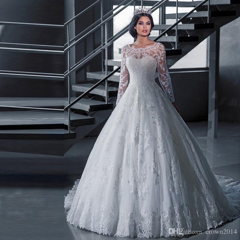 2019 Long Sleeve Lace Ball Gowns Wedding Dresses Sheer Neck Robe De Mariage Applique Beaded Lebanon Wedding Gowns Vestidos De Novia Wedding Dress