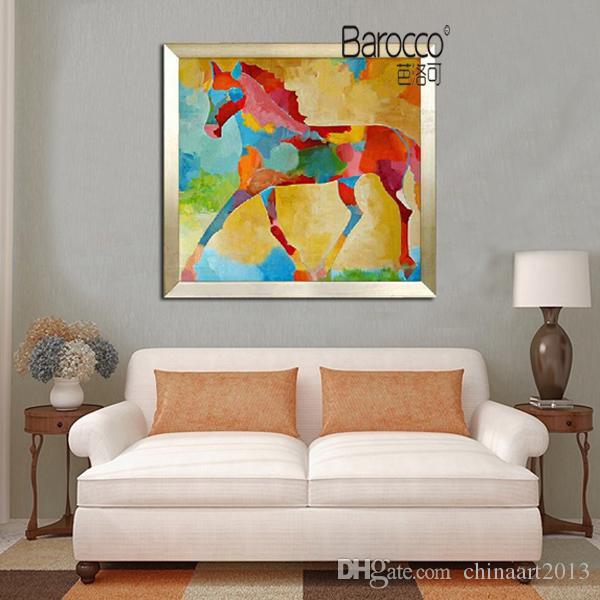 Pittura a olio animale dipinta a mano su tela Dipinti astratti moderni moderni del cavallo per la decorazione domestica di arte della parete