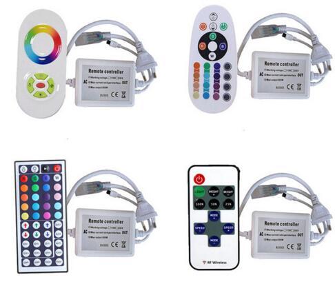 110V 220V RGB LED 램프 스트립 컨트롤러 smd 5050 방수 IP67 유연한 스트립 빛 원격 제어 EU 플러그 CE ROSH 10pcs / lot DHL