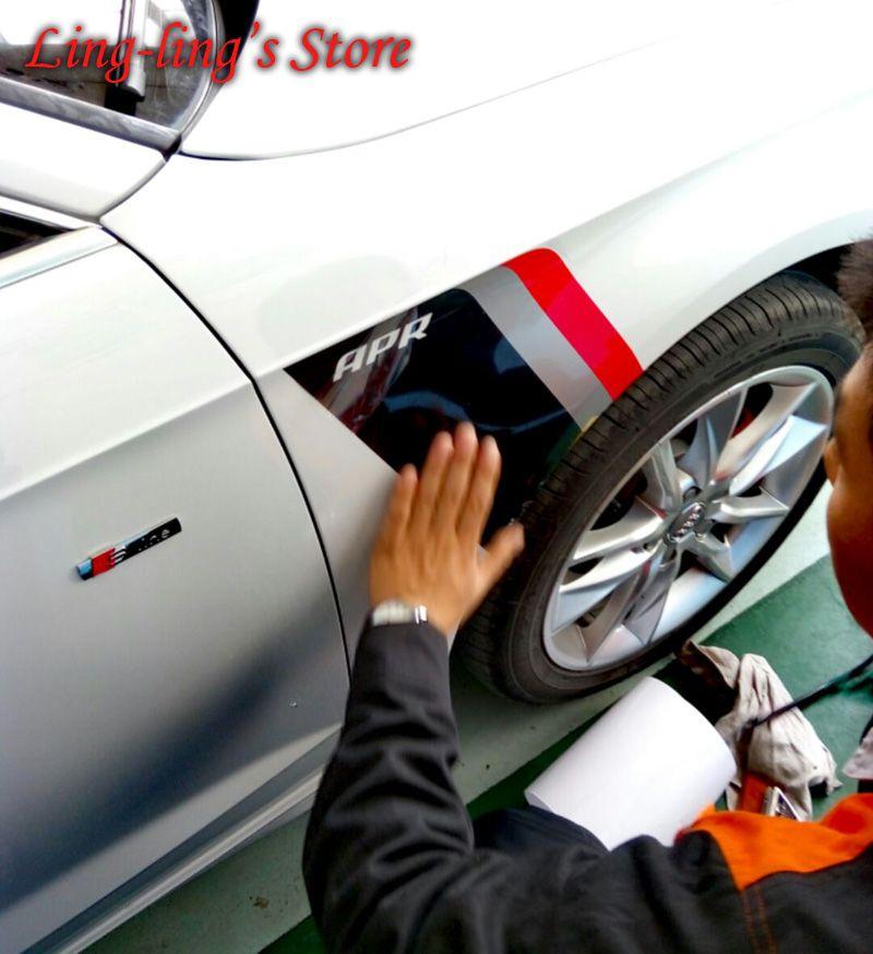 Супер Прохладный спортивный стиль автомобиля тела этикета Боковые наклейки для VW AUDI A3 A4 B8 B9 / A5 / A6 C7 / A7 / Q3 / Q5 / Q7 / Q2 R8 TT Car Styling
