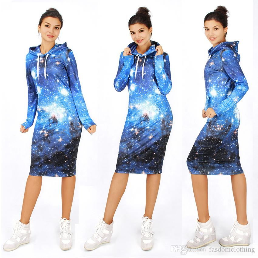 9 Designs Spring Autumn 3D Galaxy Printed Womens Dress Fashion Casual Long Sleeve Sports Sweatshirt Hoodies Dress Women Clothing Vestidos